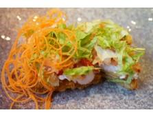 65b - Sushi pizza aux crevettes, fraises, crème de noix de coco - 2 mcx